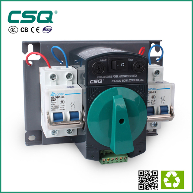 2P 63A 230V MCB type Dual Power Automatic transfer switch ATS on ...