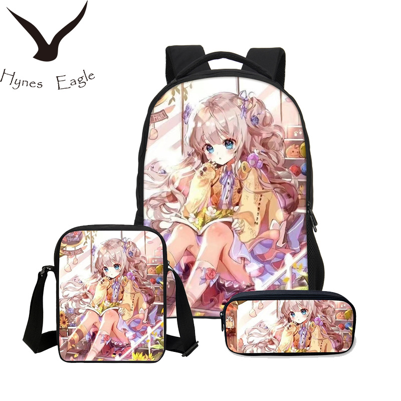 Hynes Eagle Brand 3PCS/SET School Bag 3D Cartoon Printed Backpack Combination Bookbag Fashion Anime School Backpack Daily Bags hynes eagle 3 pcs set 3d letter bookbag boys backpacks school bags children shoulder bag mochila girls exo printing backpack