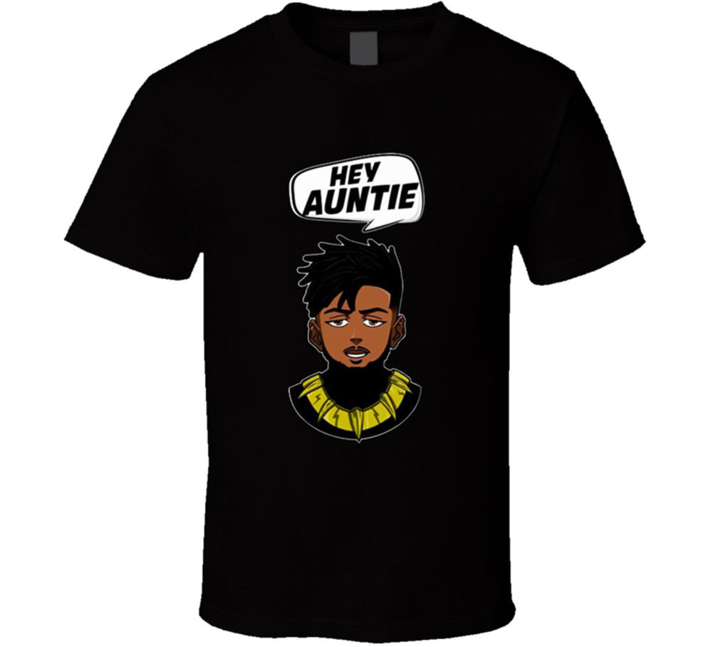 Hey Aunty Killmonger T-shirt Erik Black Panther Movie Many Clors New From New 2018 Summer Style T-Shirt