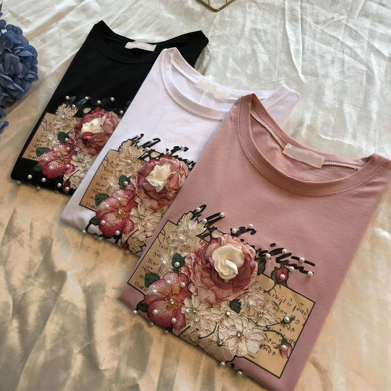 Pearl Appliques 3D Beading Women T Shirts Cotton O Neck Short Sleeve Female Casual Shirt 2020 Summer Fashion Ladies Tops Clothes 1