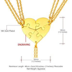 Image 4 - Индивидуальное ожерелье U7 BFF для 5 пар кулонов из нержавеющей стали любовное сердце подходящий набор подарок на день матери Бесплатная гравировка P1241