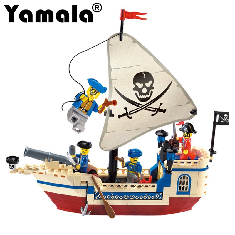 [Yamala] Pirate Series Ship Building Bricks Blocks Sets Building Blocks Intellectual Kids Toys Compatible With Legoingly kazi building blocks toy pirate ship the black pearl construction sets educational bricks toys for children compatible blocks