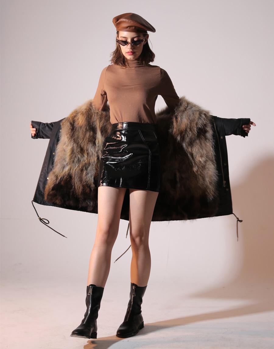 2019 Real Fur Coat Winter Jacket Women Long Parka Waterproof Big Natural Raccoon Fur Collar Hood Thick Warm Real Fox Fur Liner 41