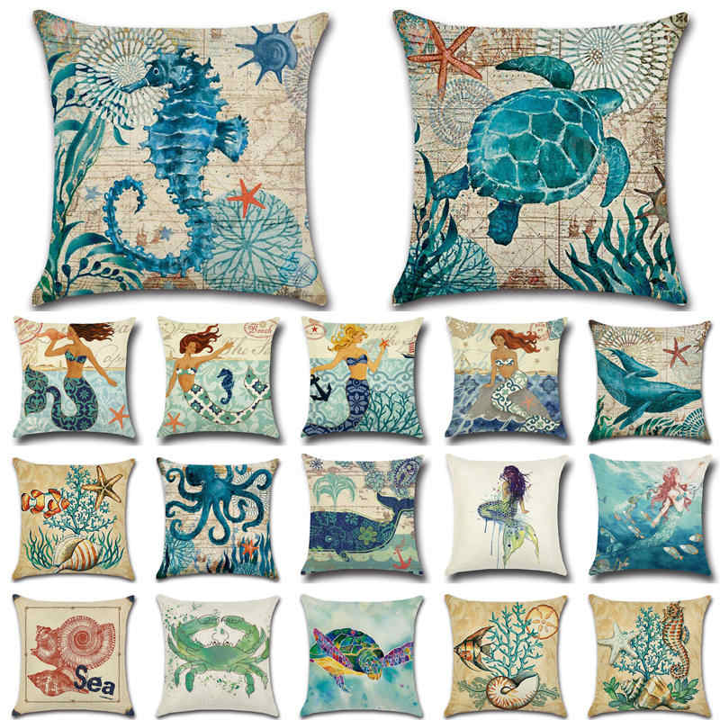 1Pcs Sea Turtle Shell Pattern Cotton Linen Throw Pillow Cushion Cover Car Home Decoration Sofa Bed Decorative Pillowcase 40018-1