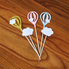 CRLEY 10pcs/lot cake toppers Colorful Pink Blue Clouds Hot Air Balloon Shape Toppers Birthday Party Baby Shower Supplies