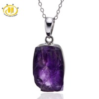 Hutang Stone Jewelry 3.77g Natural Amethyst Rough Gemstone 925 Sterling Silver Pendant Necklace Fine Jewelry For Women's Gift