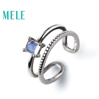 Natural moonstone 925 sterling silver rings for women and girls,blue color 4mm Square cut stone fine simple jewelry