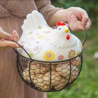 Hens receive basket iron baskets Egg basket, potato and garlic container Hollow container basket