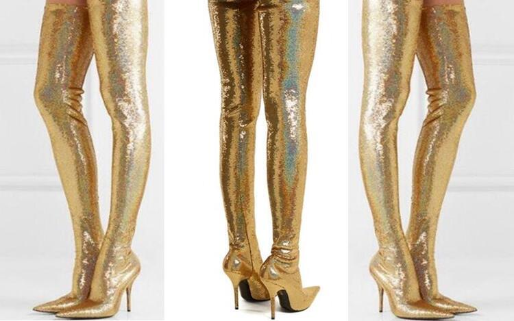 Tacón Botas Plata Metal De Largo Brillante La Muslo Bling Slim Fit Oro Encima Alta Por Altas Rodilla Vestir Zapatos 8pwU7Sq