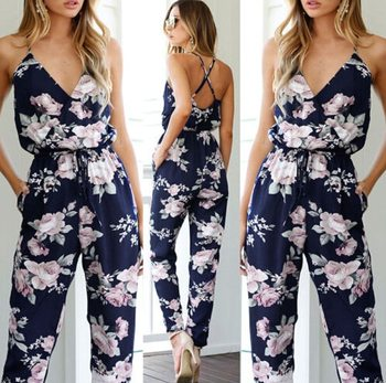 Women Clothes Playsuit Bodycon Party Jumpsuit Romper Trousers Backless V-neck Women's Floral Clubwear Summer new women ladies clubwear v neck playsuit bodycon party zpper sleeveless jumpsuit