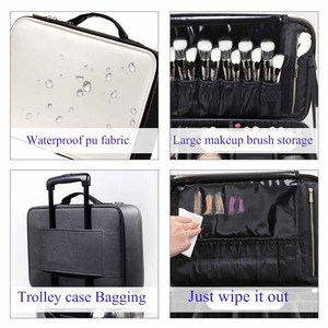 Image 5 - Professional Make Up Case Large Capacity Storage Handbag Travel Insert Toiletry Makeup bag Leather Clapboard Cosmetic Bag