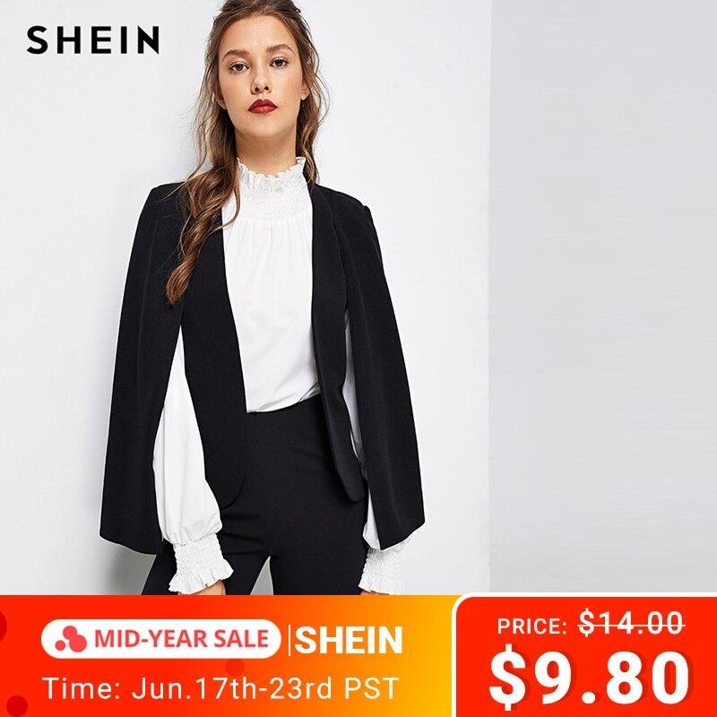 SHEIN Black Poncho Office Lady Streetwear Cloak Open Front Blazer 2018 Autumn Elegant Modern Lady Workwear Women Coats Outerwear