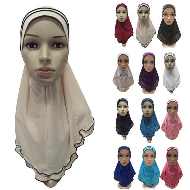 มุสลิมผู้หญิง Hijab ฝาครอบ Amira ผ้าคลุมไหล่ผ้าพันคออิสลาม Headwear หมวกหมวก Headscarf อาหรับคอสวดมนต์หมวก Banadanas