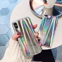 ФОТО new colorful blue ray glitter phone case for apple iphone 8 7 6 6s plus 7plus fashion soft silicone back cover for iphone x capa