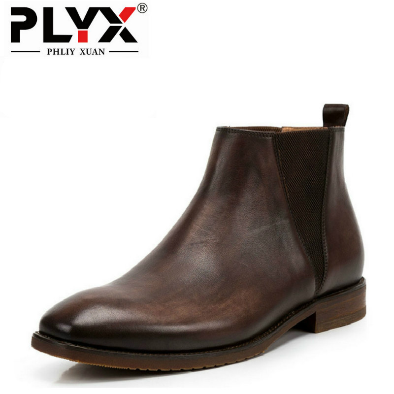 PHLIY XUAN British New 2018 Style Retro Genuine Leather Men Ankle Boots 100% Handmade Bota Stitching Snow Tactical Boots serene handmade winter warm socks boots fashion british style leather retro tooling ankle men shoes size38 44 snow male footwear