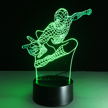Hot sale Spiderman colorful 3D night light Creative remote control or touch switch night light LED table lamp
