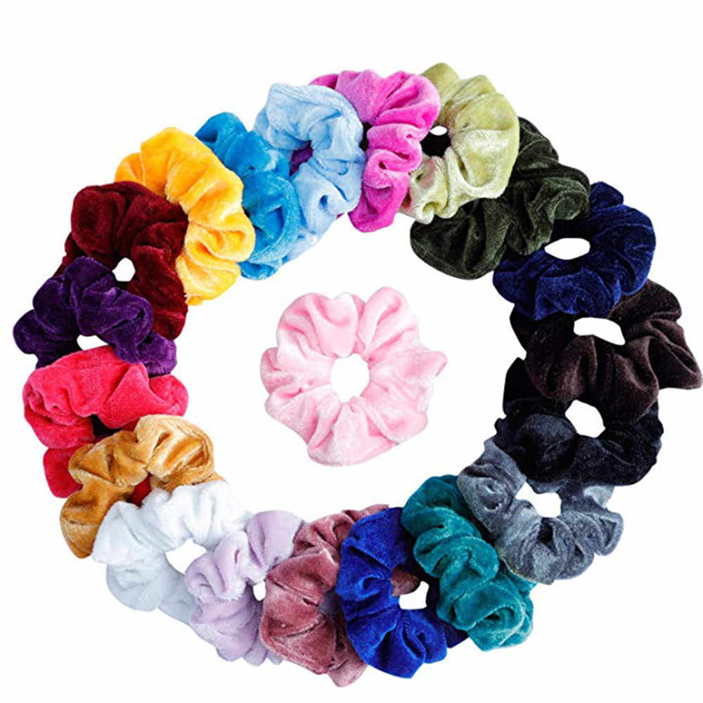 20Pcs/Pack Donut Elastic Velvet Hair Band Useful Scrunchy Hair Rope Women Ponytail Holder Hair Flannel Headwear #25