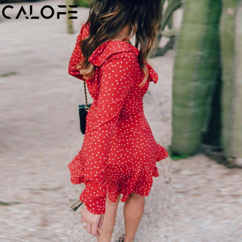 CALOFE Ruffle Star Print Women Dress Sexy Deep V Neck Long Sleeve Woman Sundress 2018 Summer Casual Irregular Beach Mini Dress