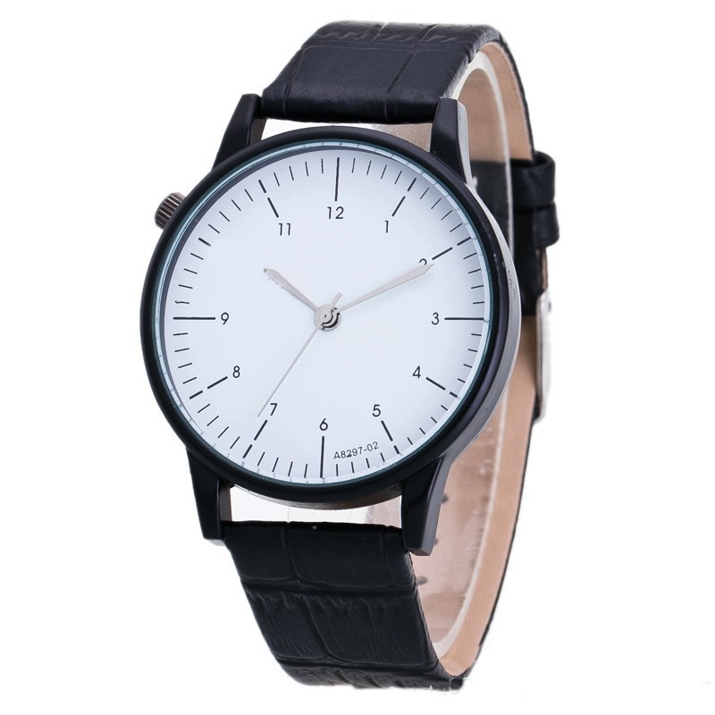 New design men wristwatch quartz black leather strap white big dial quartz clock men business watches 2018 Masculino Reloje wild