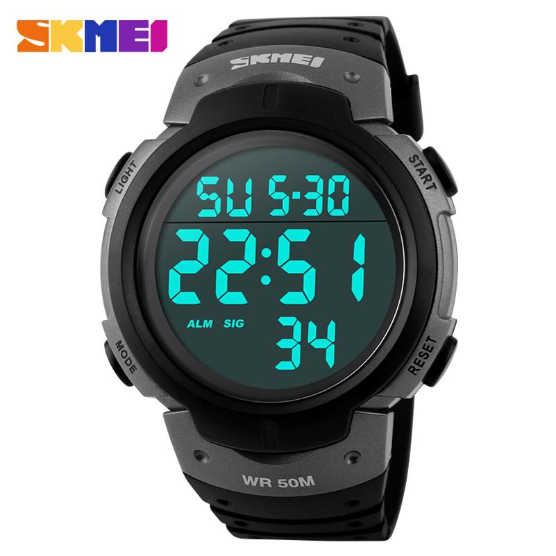 Prix pour SKMEI hommes numérique sport montres bracelet en caoutchouc homme mode Militaire chronographe alarme LED horloge marque de natation étanche montre-bracelet