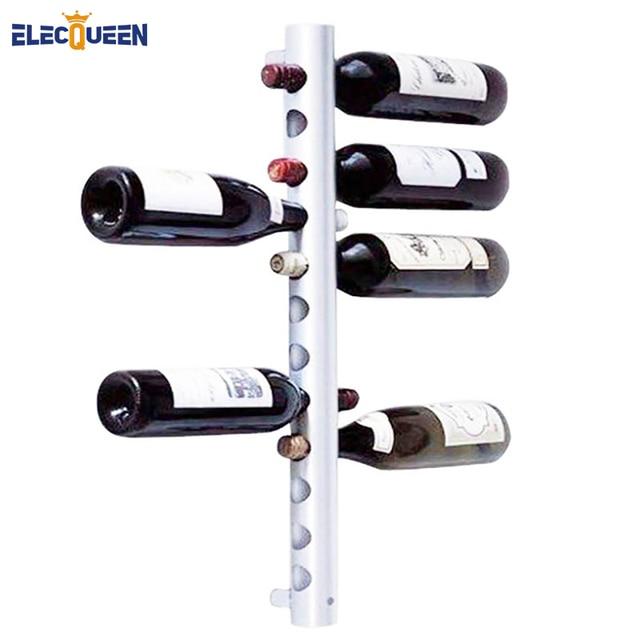 12 Holes Vertical Wine Racks Holder Metal Bottle Rack Buckets Barware Wall Mounted