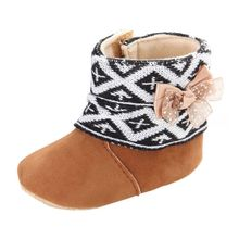 New Infant Baby Boys and Girls Fashion Style Patch Boots Baby Cotton Shoes With Butterfly Bow