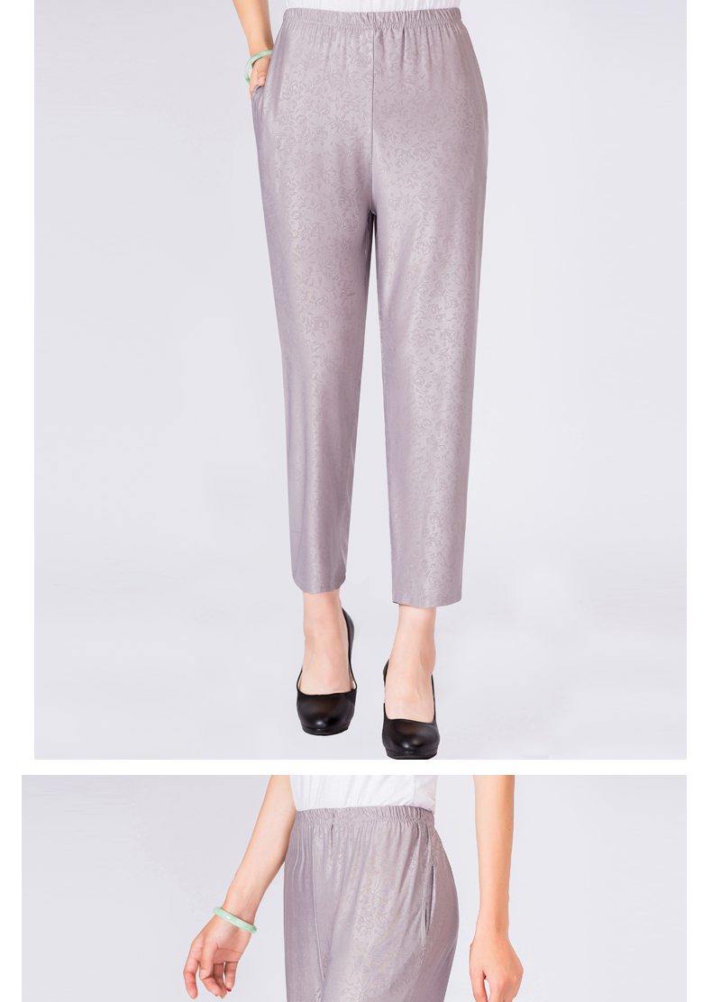 Elderly Women Casual Pants Gray Black Shadow Pattern Trousers Female High Waist Elastic Band Pantalones Mujer Mother Leisure Pant Summer (6)