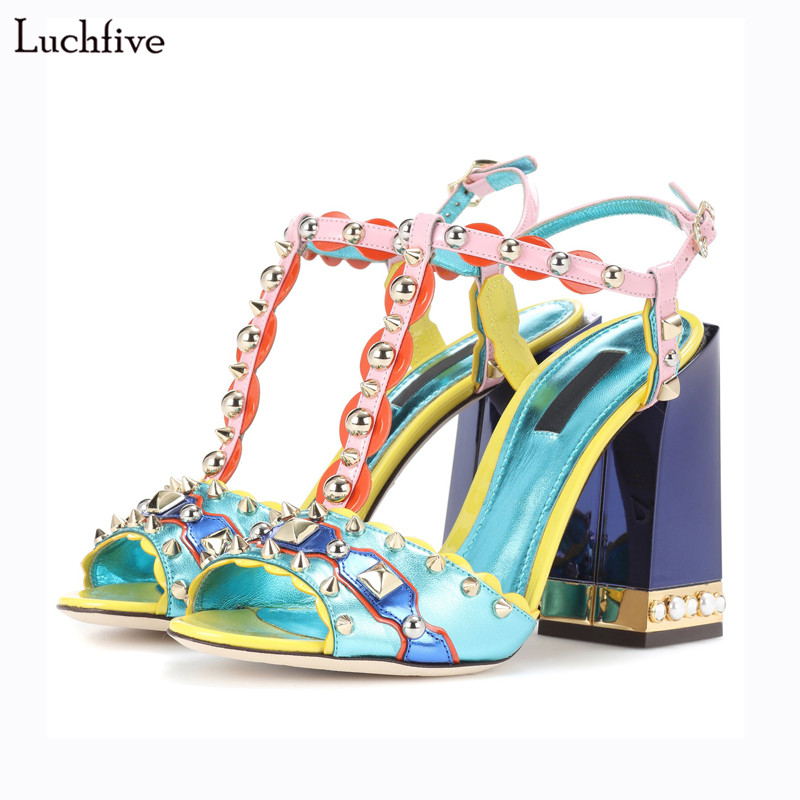 Spiked Rivets pearled High Heels Sandalias 2018 Summer Shoes Woman Big Size Design Gladiator Sandals Women Pumps Sapatos mujer excellent design sandalias femininas tassels sandal summer shoes fashion design high heels gladiator womens sandals shoes