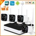 Plug & Play P2P Sem Fio 4CH CCTV Sistema de Câmera Sem Fio NVR & IP Camera 720 P/960 P Bala Ao Ar Livre Sistema de Vigilância Wi-fi Kit