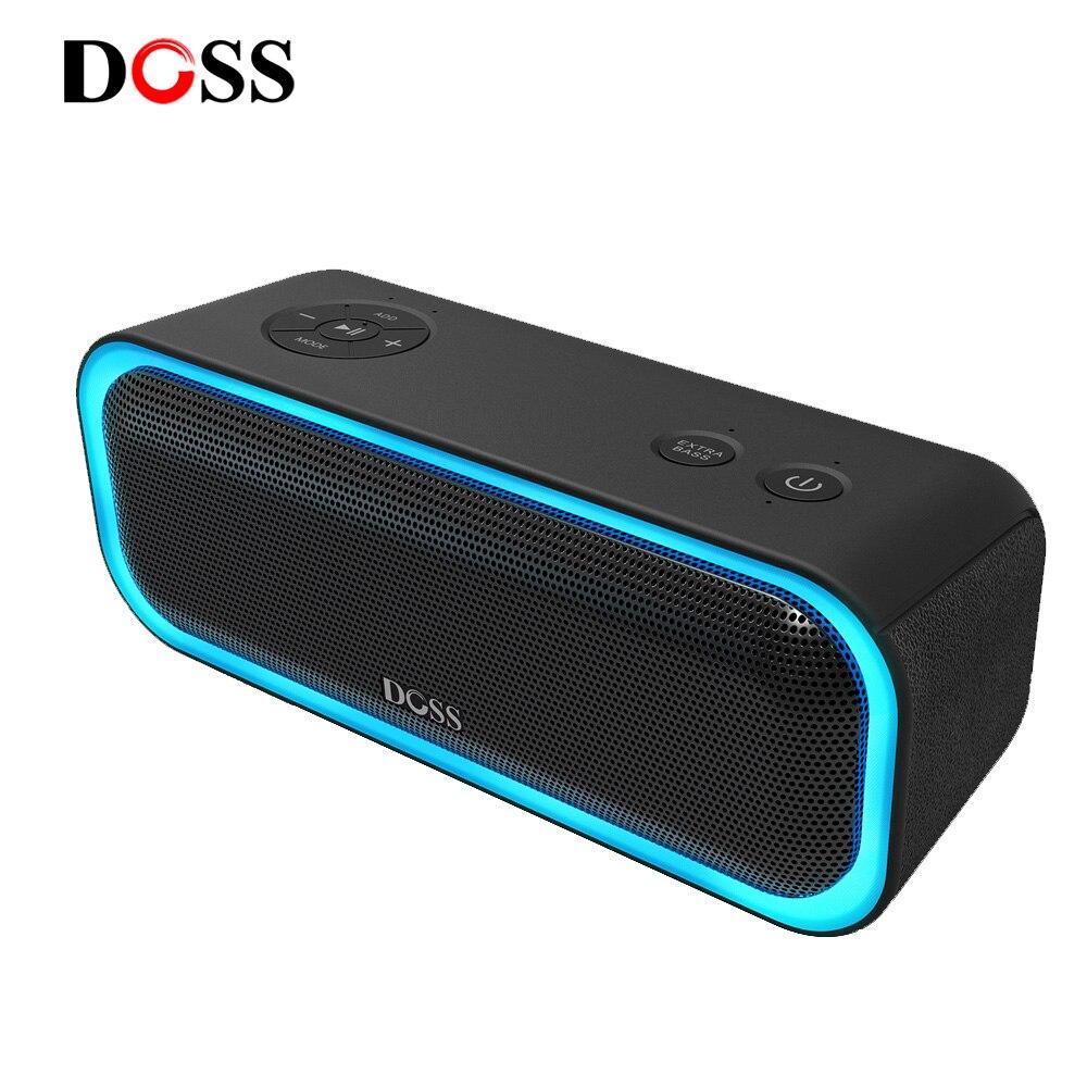 DOSS SoundBox Pro TWS haut-parleur Bluetooth sans fil 2*10 pilotes avec lumière LED clignotante son stéréo basse amélioré IPX5 étanche