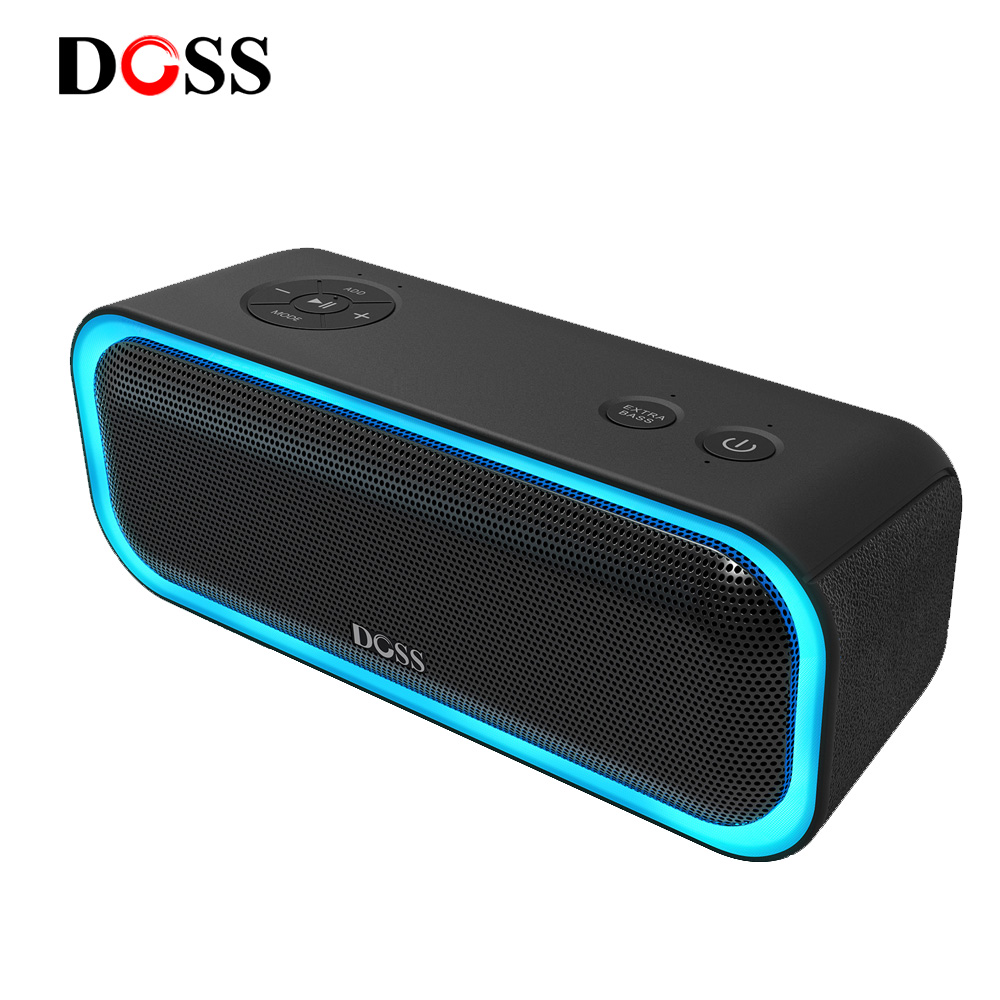 SoundBox Pro TWS DOSS Sem Fio Bluetooth Speaker 2*10 IPX5 Motoristas com Luz LED Piscando Som Estéreo de Graves Aprimorada à prova d' água
