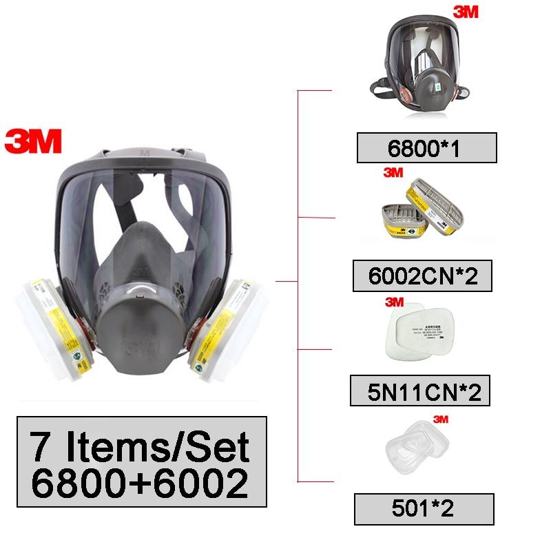 Masque réutilisable de masque complet de 3 M 6800 avec 6002 cartouches de gaz Anti-acide NIOSH & LA Standard 7 pièces costume LT041