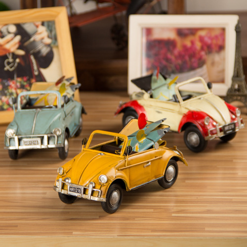 Free Shipping Retro Convertible Car Metal Classic metal Car Handmade Old Car Gift Decoration for home & Shop 0211