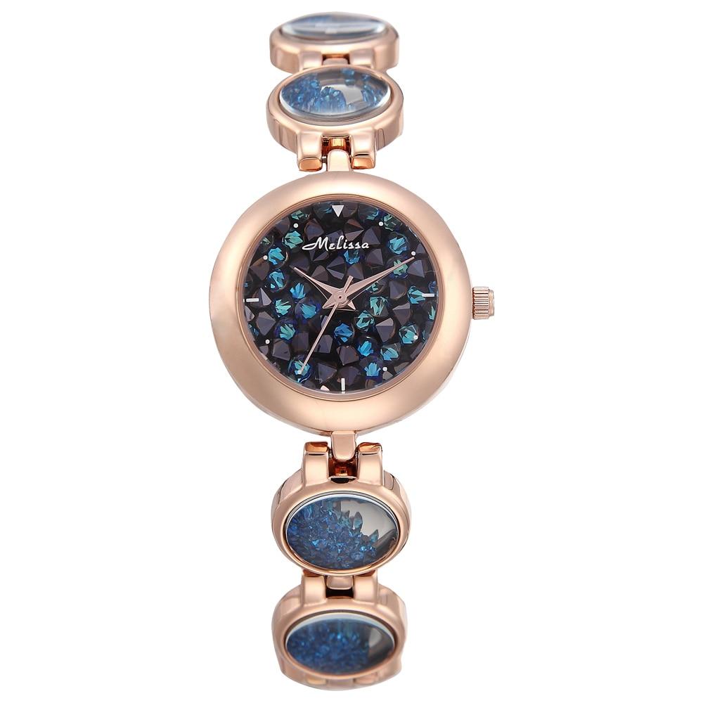 все цены на Luxury Melissa Lady Women's Watch Elegant Full Rhinestone Cute Fashion Hours Bracelet Crystal Clock Girl Birthday Gift Box