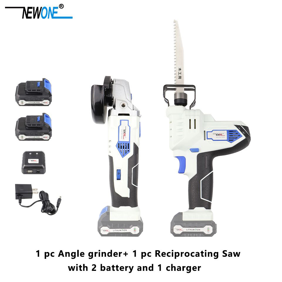 2-Piece NEWONE 12V Lithium-Ion Cordless Power Tool Combo Kit Angle Grinder and Reciprocating Saw Combination with 2.0Ah Battery2-Piece NEWONE 12V Lithium-Ion Cordless Power Tool Combo Kit Angle Grinder and Reciprocating Saw Combination with 2.0Ah Battery
