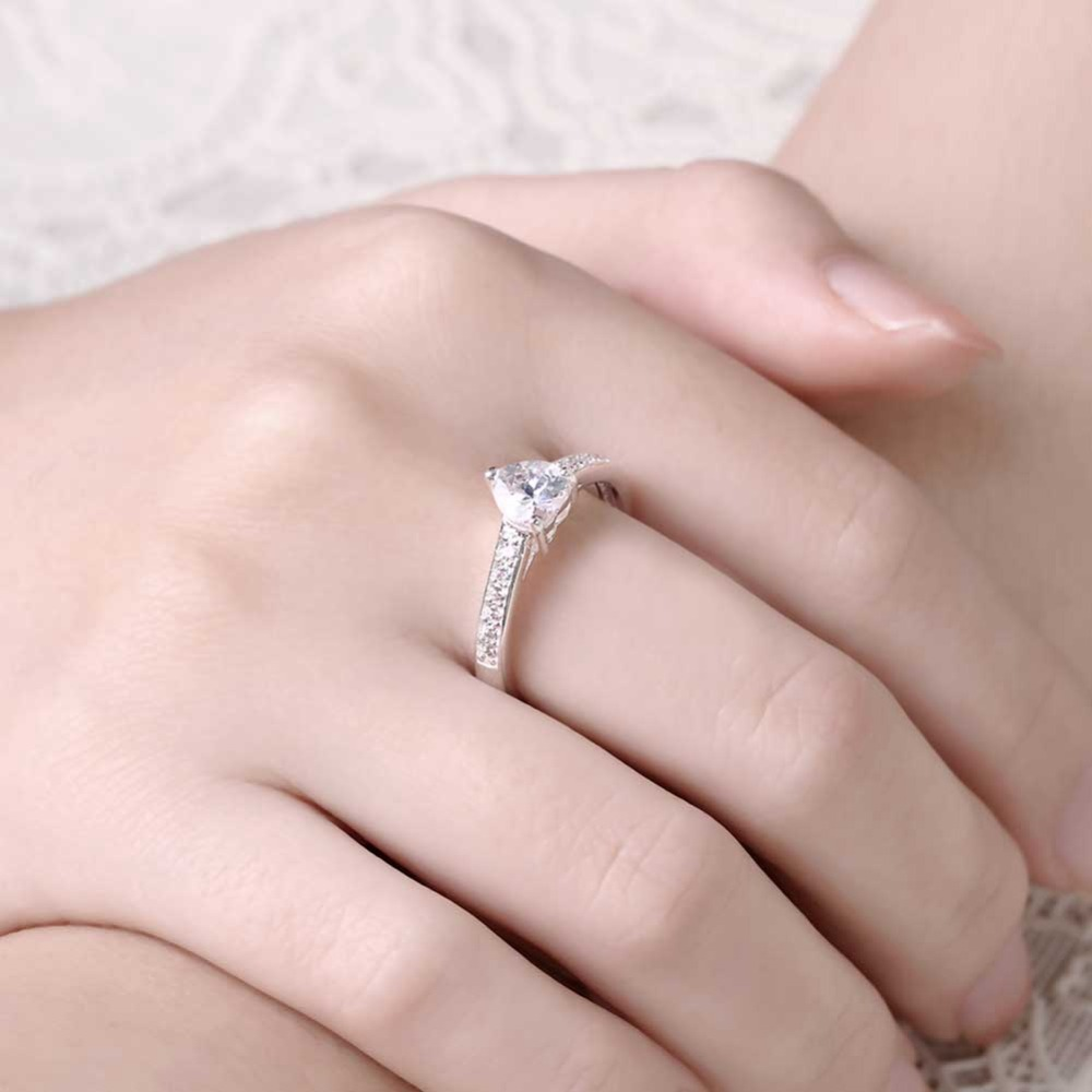2017 Newest Woman Wedding Ring Silver Plated Trinket Design Romantic ...