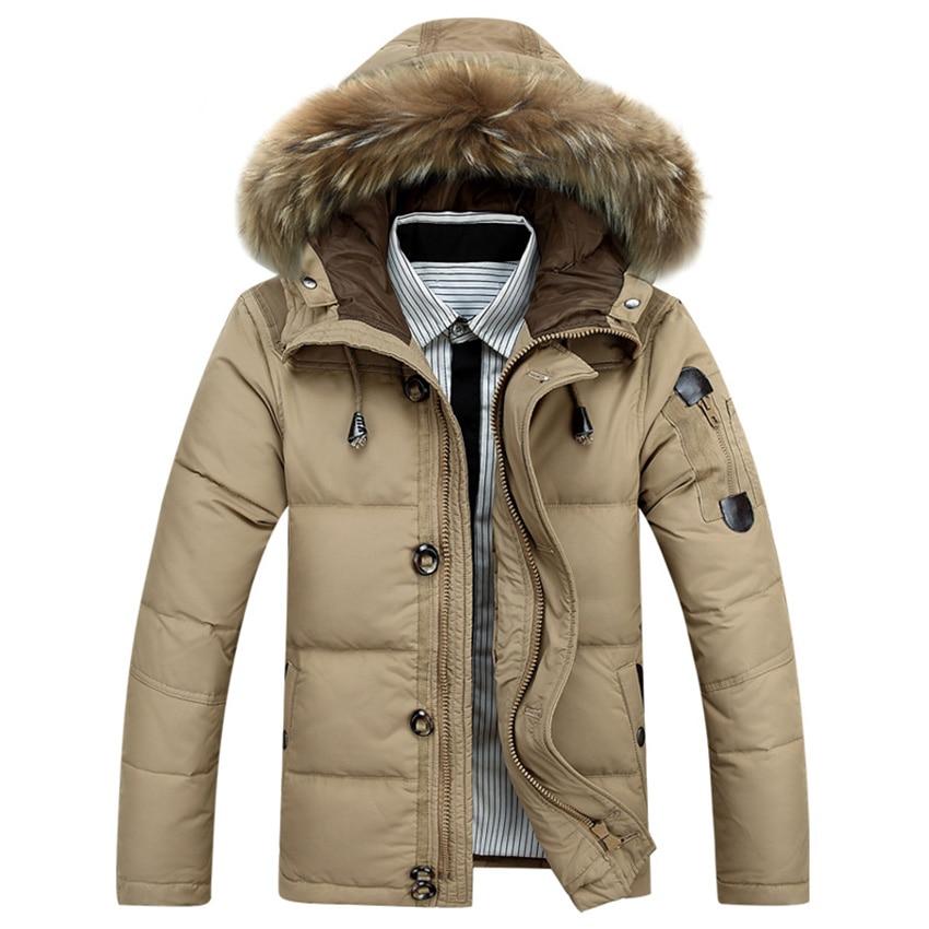 Hot Sale 2018 New Men   down   jacket Winter Thick Warm Fashion Patchwork Men's   Coat   Hooded Men White duck   down     Coat