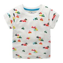 summer New style T-Shirts for boy Cotton print tshirts for boys kids sports tops Children tees with cartoon car 2-7 Boys Clothes
