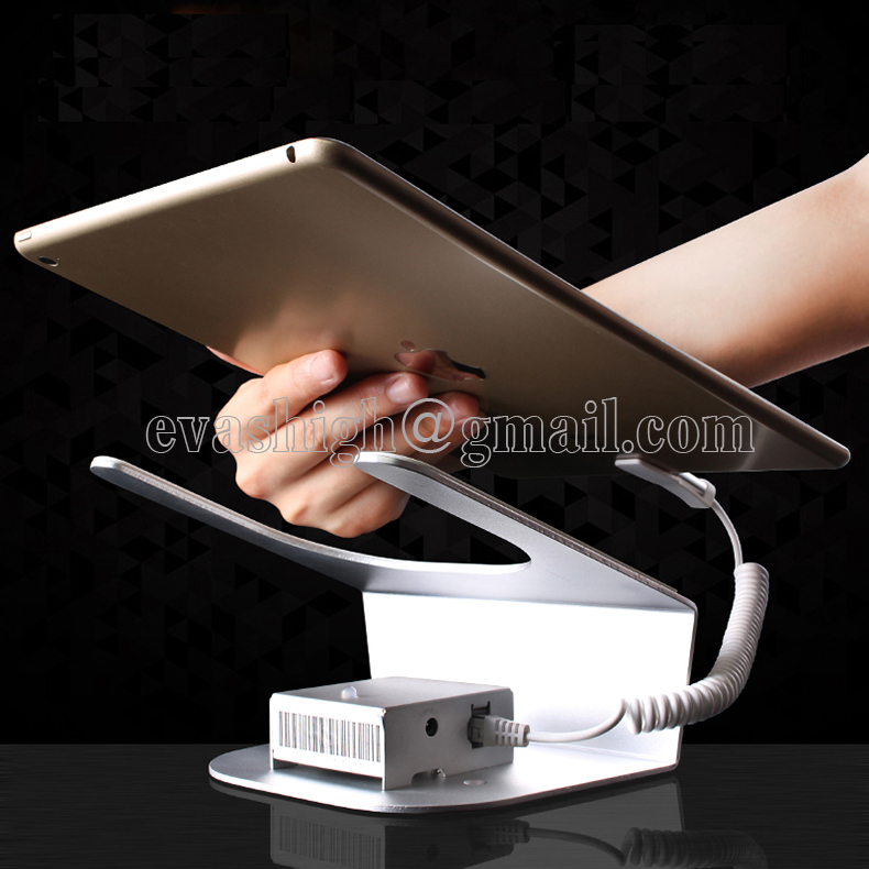 Ipad security display stand tablet holder alarm mount rack devices anti theft for retail shop with charging and alarm funtion wholesale price mobile phone anti theft alarm display stand with charging for exhibition