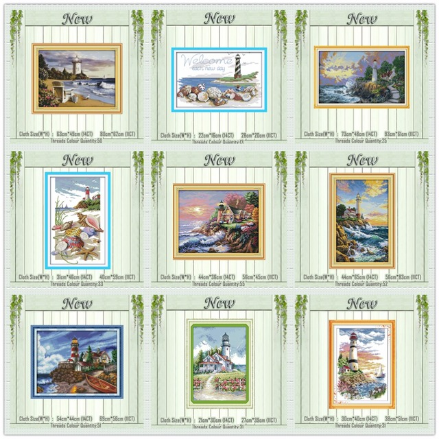 Lighthouse Shells beacon light tower painting counted print on canvas DMC 14CT 11CT Cross Stitch Needlework Sets Embroidery kits