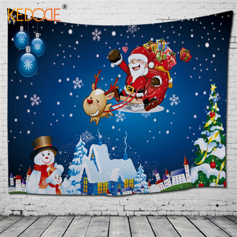 Festive wall decoration Christmas tapestry ins Nordic hang 3D printed beach towel blanket wall decoration