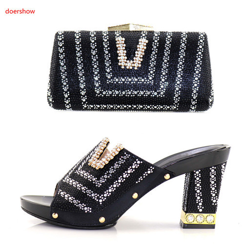doershow Italian Shoes with Matching Bags 2018 African Shoe and Bag Set Italian Design African Shoes and Bag Set for Partie BB-2 doershow latest african matching shoes and bag set beautiful design european ladies slipper and bags sets free shipping sgf1 45