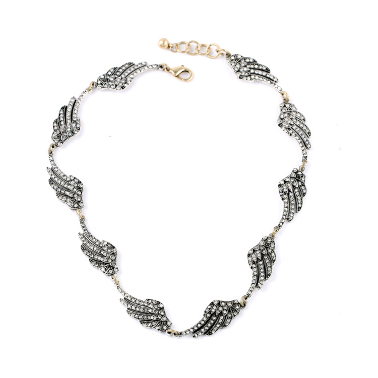 Silver Color Women Noble Jewelry Accessories Personalized Chic Vintage Rhinestone Wings Necklace Designer