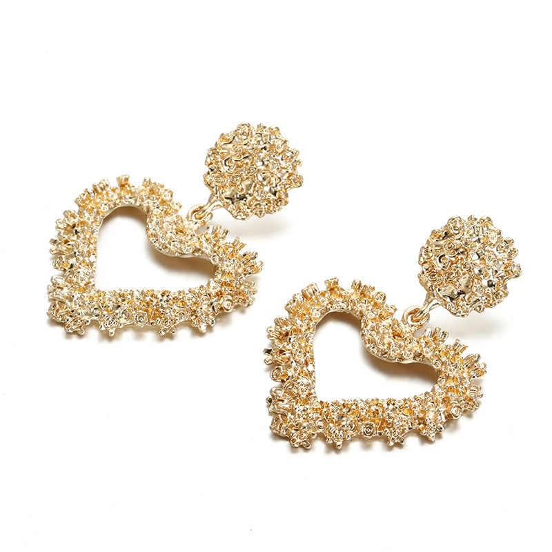 2019 New Fashion Drop Earrings For Women Hollow Love Heart Big Statement Earrings Wedding Party Jewelry Dropshipping