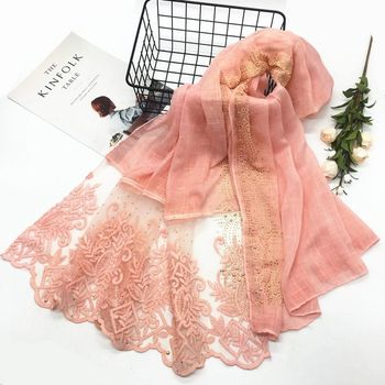 Lace embroidery flower Scarf Hijab Gold rhinestone edges Shawl Fashion women Scarves Shawls brand wrap soft muffler 16 colors traditional nanjing specialty yunjin muffler scarves scarf classic women shawl wrap shawls chinese new year high quality gift
