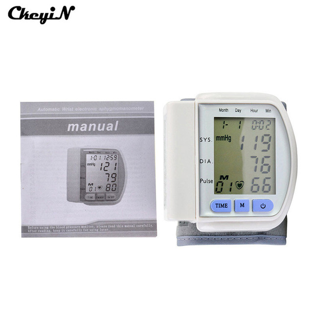 Portable Health Care Home Automatic Digital Wrist Cuff Blood Pressure Monitor & Heart Beat Meter LCD Display Sphygmomanometer