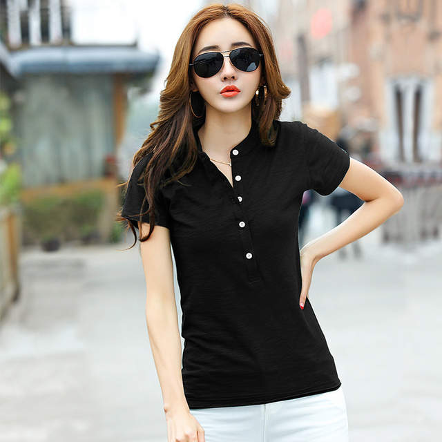 placeholder Summer Cotton Slim Short Sleeve Polo Shirts For Women Causal  Solid Women s Polo Shirt Fashion Ladies 0dcedd0ef4b4