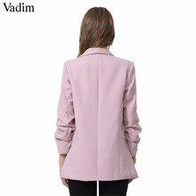 Vadim women elegant 4  blazer crimping three quarter sleeve outerwear notched pocket office casual tops CT1504