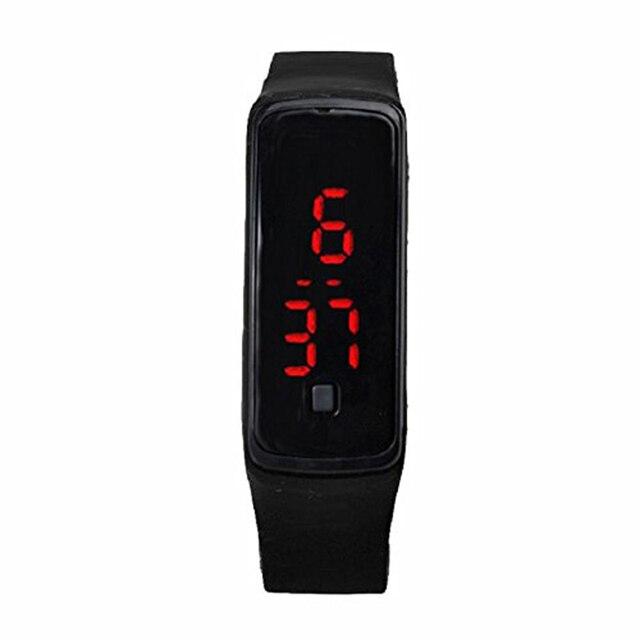 Fashion Ultra-slim Men Silicone Digital LED Sports Wrist Watch (Black)