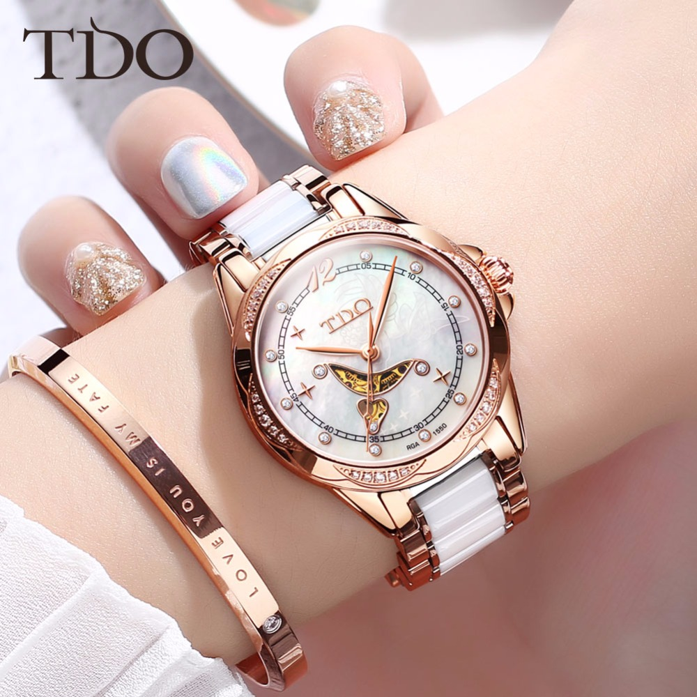 TDO Women Ceramic Clock Butterfly buckle Design Womens Automatic Mechanical Watch Sapphire Crystal Female Hollow Watches GiftTDO Women Ceramic Clock Butterfly buckle Design Womens Automatic Mechanical Watch Sapphire Crystal Female Hollow Watches Gift